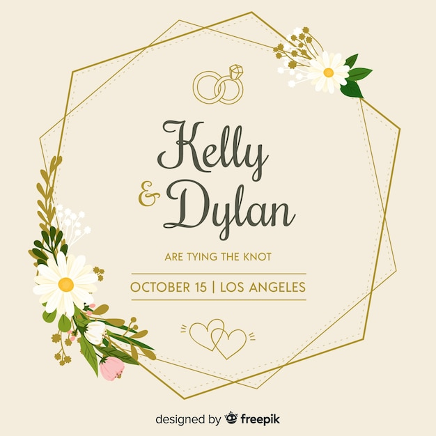 Flat floral frame of a wedding invitation Premium Vector