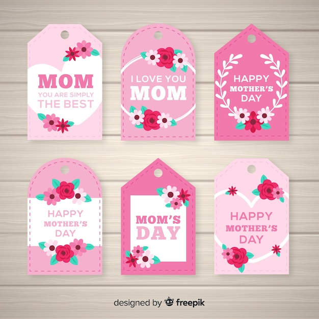 Flat floral mother's day label collection Free Vector