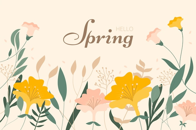Flat floral spring background Free Vector