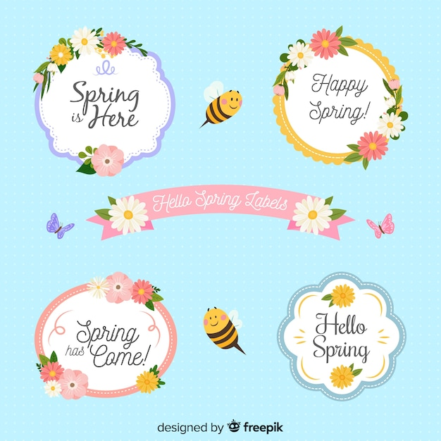 Flat floral spring label collection Free Vector