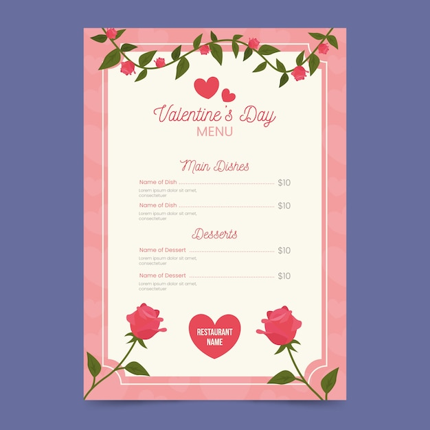 Flat floral valentine's day menu template Free Vector
