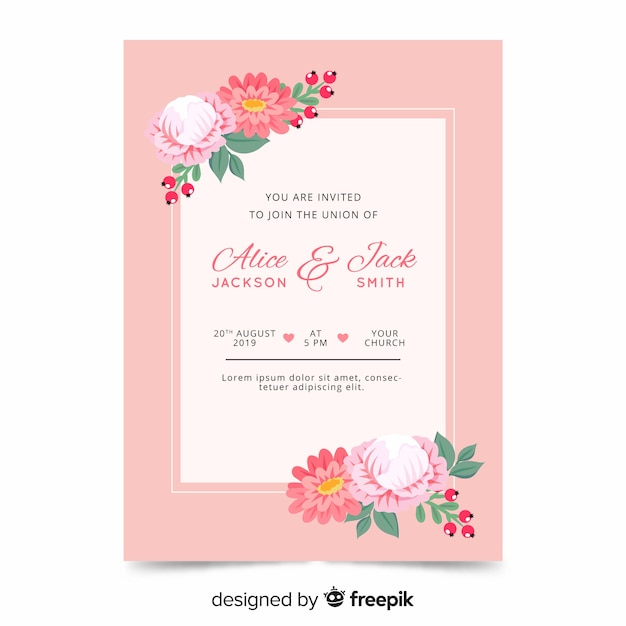 Flat floral wedding invitation template Free Vector