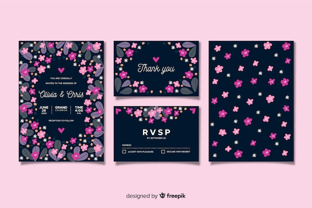 Flat floral wedding stationery template Free Vector