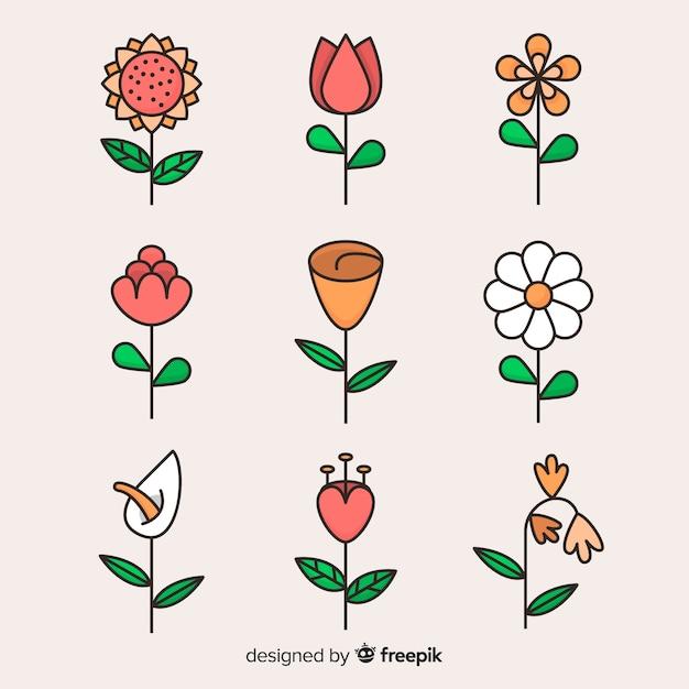 平らな花と葉のコレクション Premiumベクター