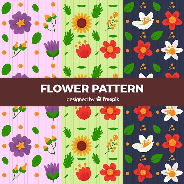 Flat flower pattern collection Free Vector