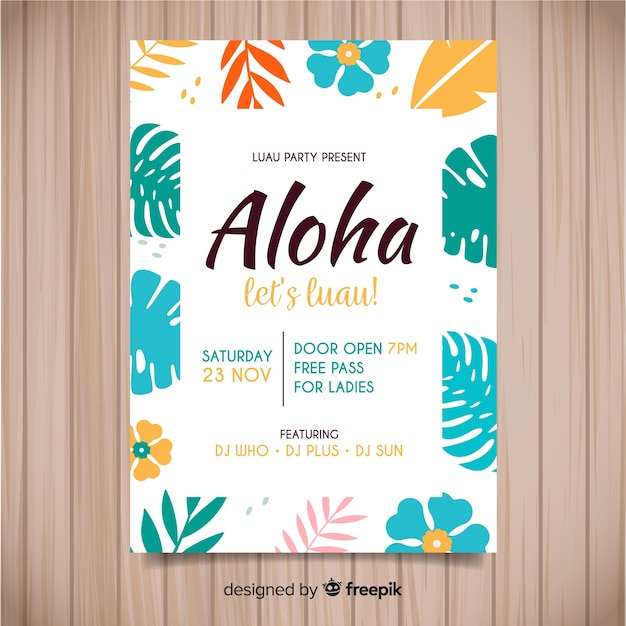 Flat flowers luau poster template Free Vector