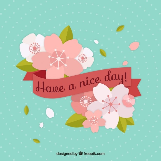 Flat Flowers With Have A Nice Day Ribbon Stock Images Page