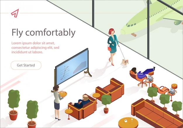Flat fly удобно первый класс lounge изометрические. Premium векторы