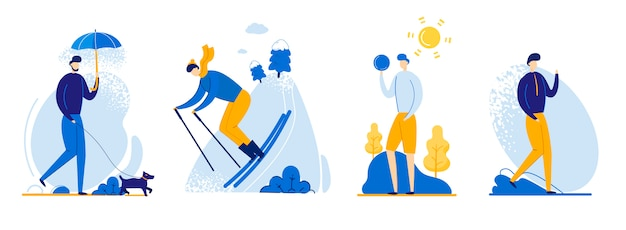 Flat flyer guy in different weather conditions. Premium Vector