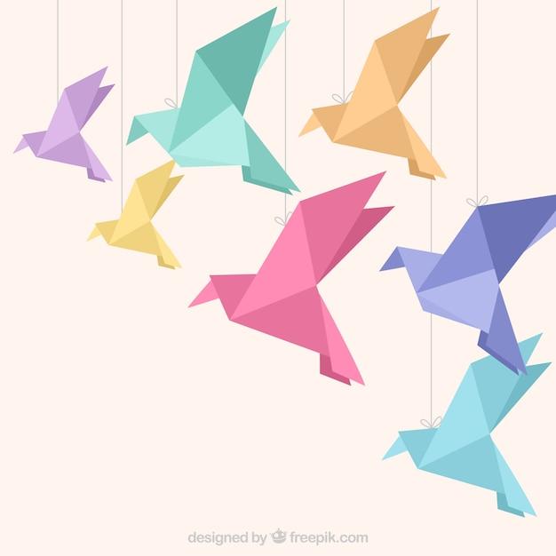 Flat flying bird background Free Vector