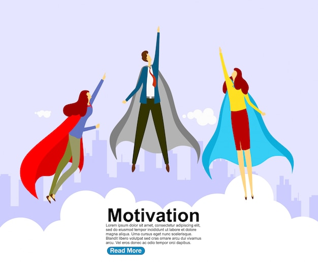 Flat flying business heroes man and woman. Premium Vector