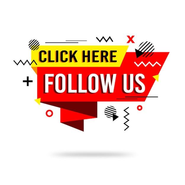 Flat follow us background Premium Vector