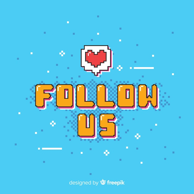 Flat follow us background Free Vector