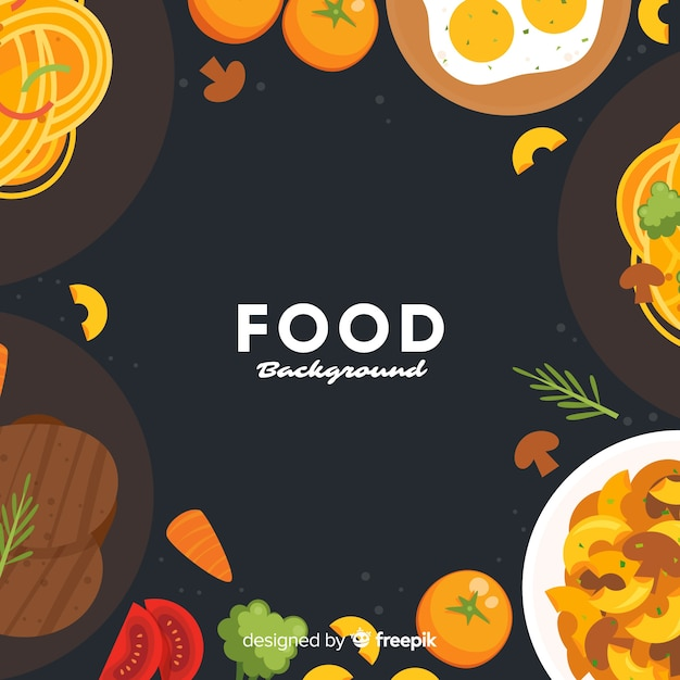 Flat food background Free Vector