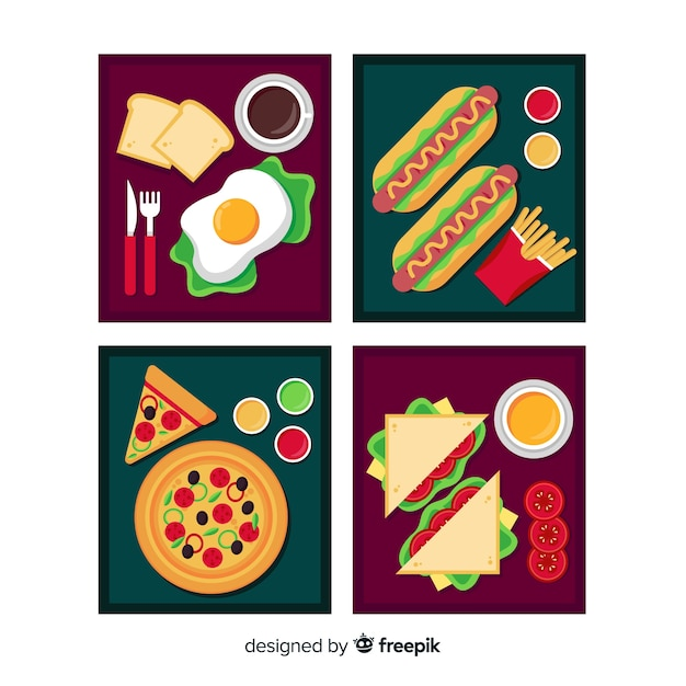 Flat food card collection Free Vector