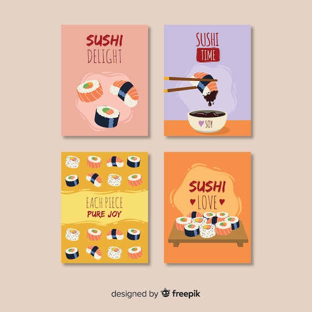 Flat food card collection Premium Vector