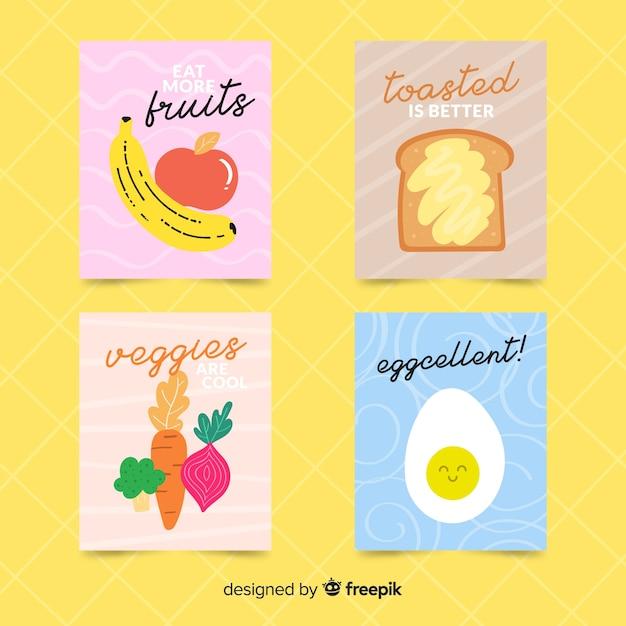 Коллекция плоских продуктов питания Бесплатные векторы