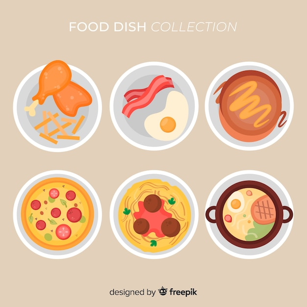 Flat food dish collection Free Vector
