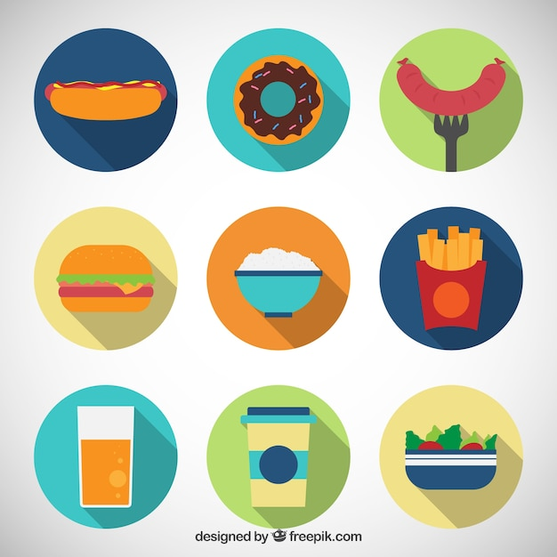 Flat Food Icons Collection Vector Free Download