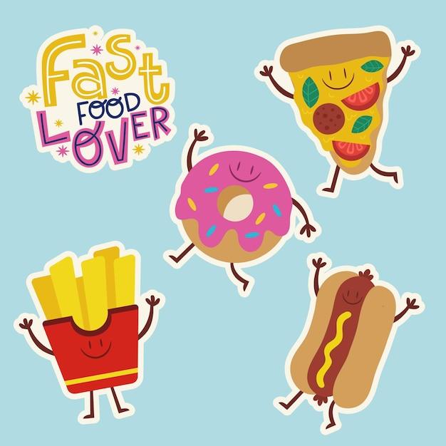 Коллекция плоских пищевых наклеек Premium векторы
