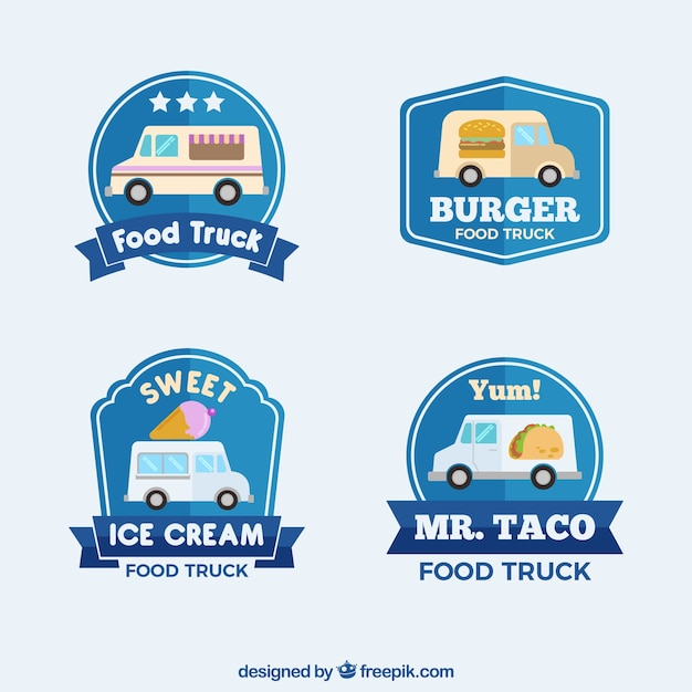 Flat food truck logos with classic style