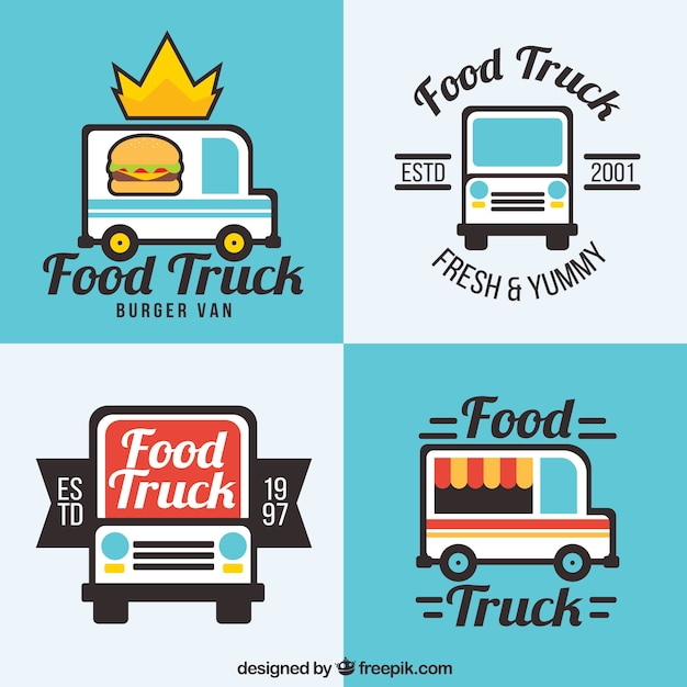 Flat food truck logos with fun style