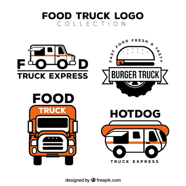 Flat Food Truck Logos With Original Style Free Vector