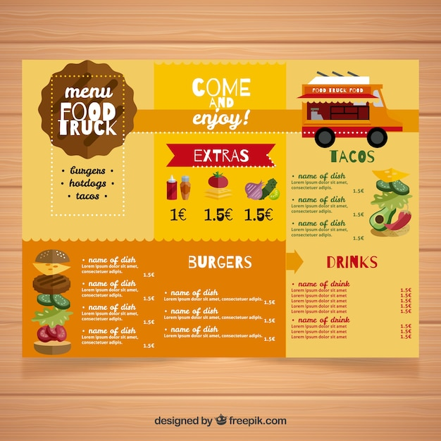 Flat food truck menu with original style
