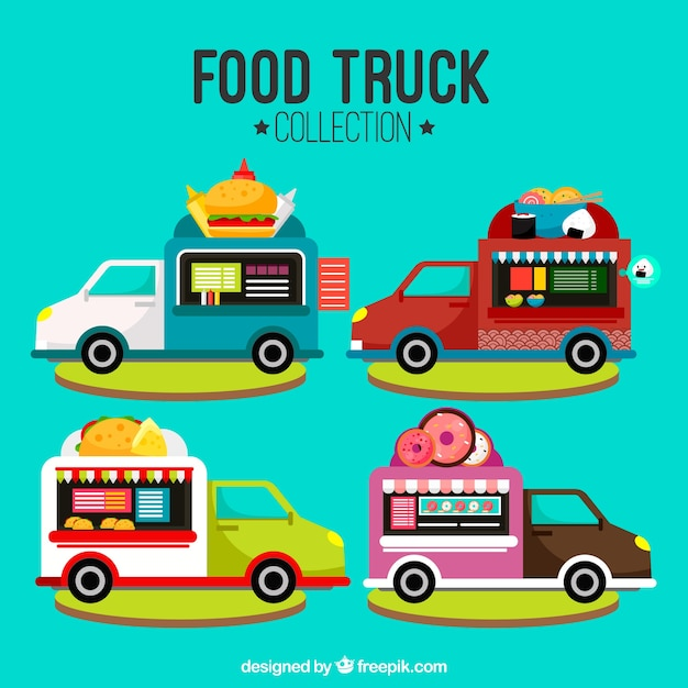 Flat food truck with different menus