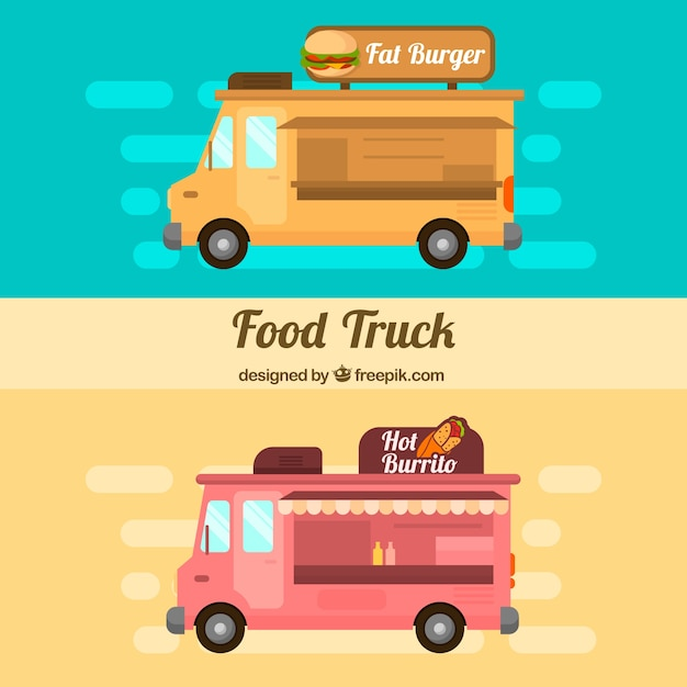 Flat food trucks with burgers and\ burritos
