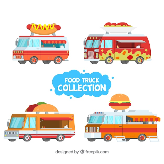 Flat food trucks with fast food