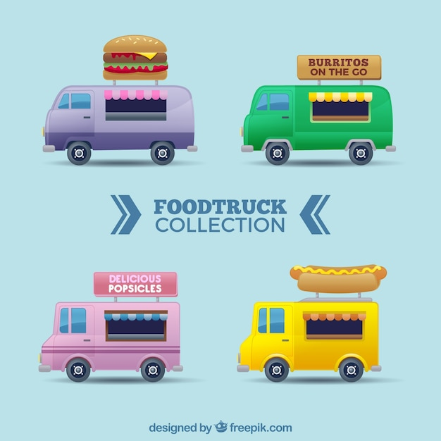 Flat food trucks with modern style