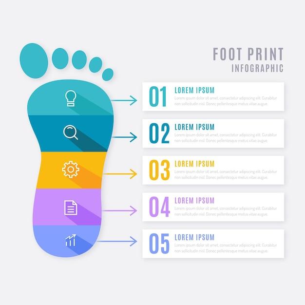 평평한 발자국 인포 그래픽 개념 프리미엄 벡터