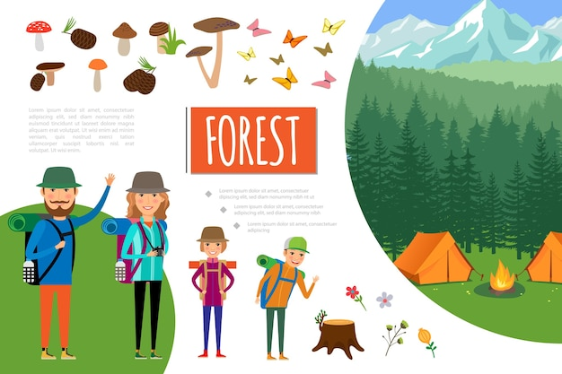 Flat forest adventure composition Free Vector