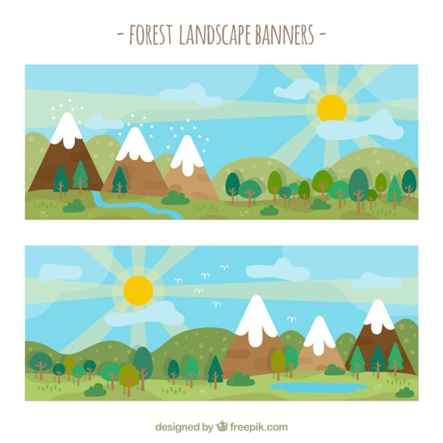 Flat forest with mountains banners