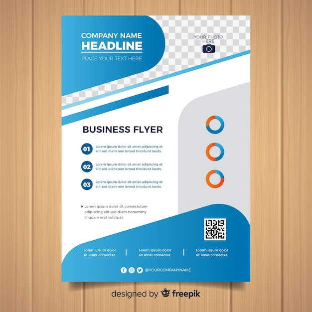 Flat formal business flyer template Free Vector