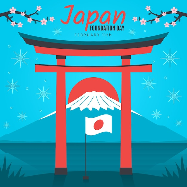 Flat foundation day japan flag Free Vector