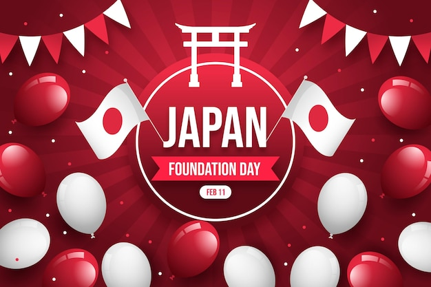 Flat foundation day japan with balloons Free Vector