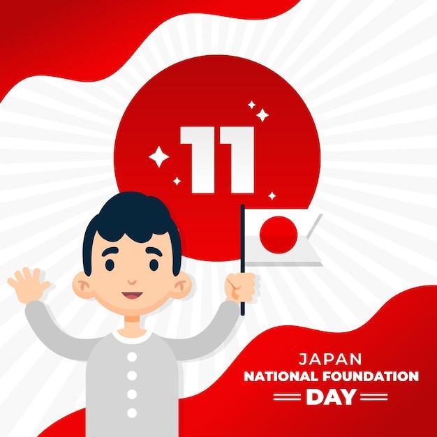 Flat foundation day man holding japan flag Premium Vector