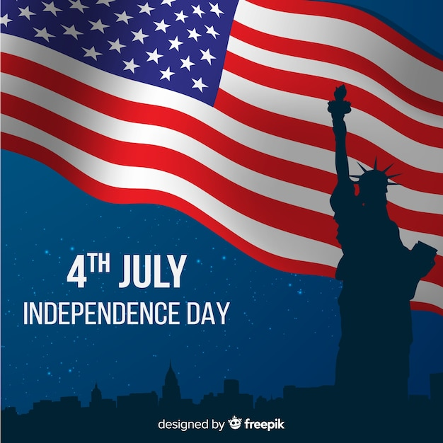 Flat fourth of july background Free Vector