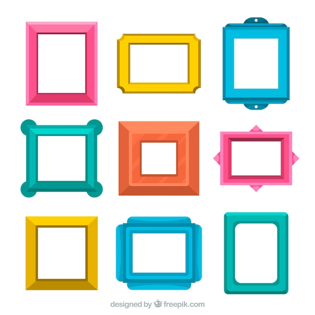 Flat frames collection Free Vector