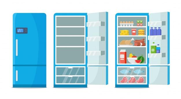 Flat fridge . closed and open empty refrigerator. blue fridge with healthy food, water, meet, vegetables Premium Vector