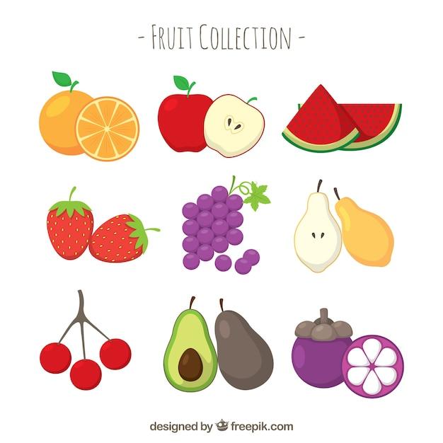 Выбор плоских фруктов Бесплатные векторы