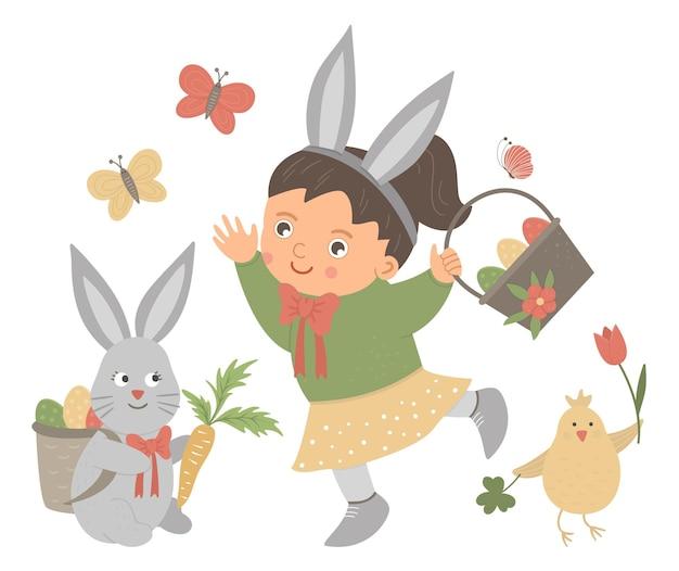 ウサギの耳、卵、バニー、チキン、蝶のバスケットを持つ平らな面白い女の子。かわいいイースターのイラスト。白い背景で隔離の春の休日の写真。 Premiumベクター