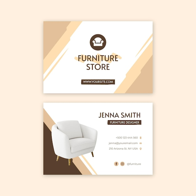 Flat furniture double-sided business card Premium Vector