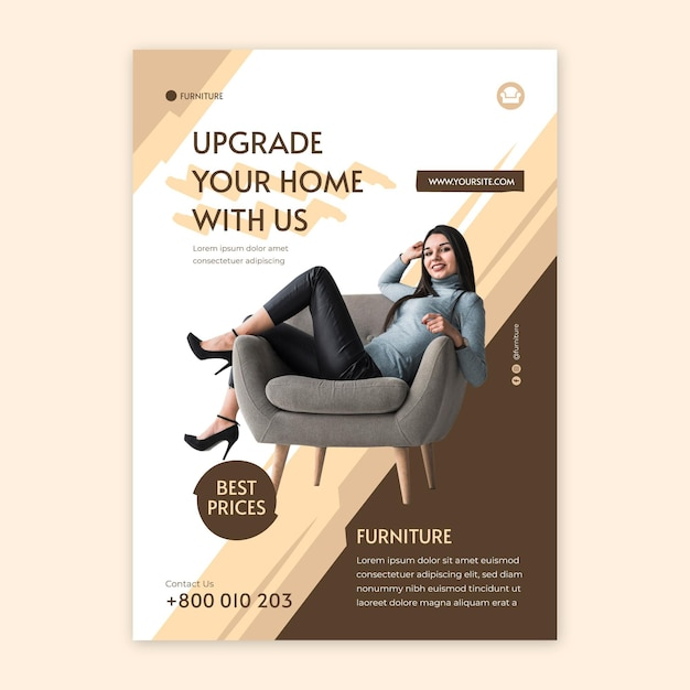 Flat furniture flyer template Free Vector