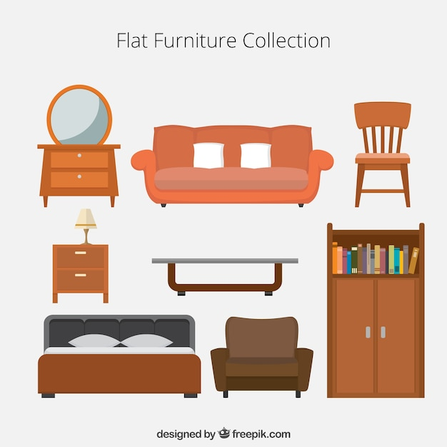 Flat Furniture Icons Collection Vector Free Download