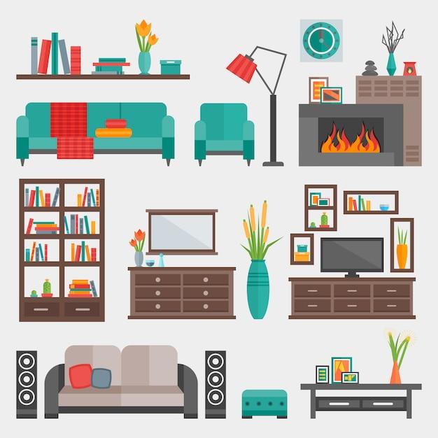 Flat furniture interior icon set Free Vector