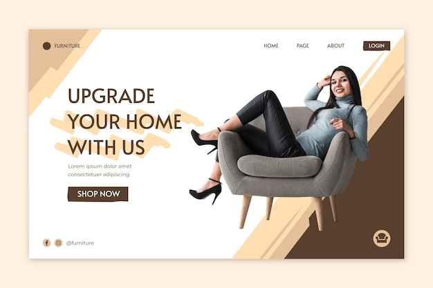 Flat furniture landing page template Free Vector