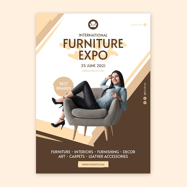 Flat furniture poster template Free Vector
